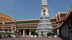 Tilt up stone pagoda in Wat Po Stock Footage