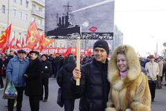 Moscow, Russia - Nowember, 2015: Young Communists at demonstrations - stock photo