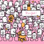 cartoon people and new born baby girl card - stock illustration