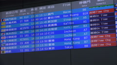 Timetable schedule board, arrivals hall, International Airport Taipei, Taiwan - stock footage