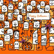cartoon people and happy halloween card - stock illustration