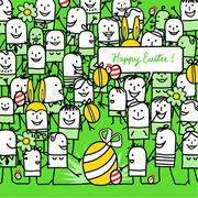 cartoon people and happy easter card - stock illustration