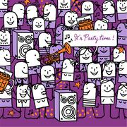 cartoon people and party time card - stock illustration