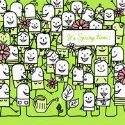 cartoon people and happy spring card - stock illustration