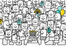hand drawn cartoon greeting card - happy birthday - stock illustration