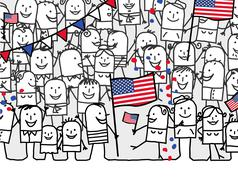 cartoon people - american national day - stock illustration