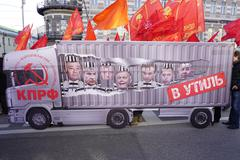 Communist  in demonstration on Moscow Stock Photos
