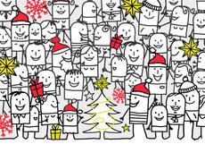 hand drawn cartoon greeting card - merry Christmas - stock illustration