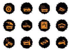 Car Insurance Icons - stock illustration