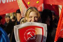 Moscow, Russia - 7 Nowember, 2015: Young Communists at demonstrations - stock photo