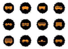 Rail-freight traffic icons Stock Illustration