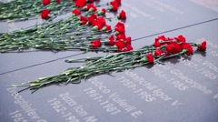 Flowers at the memorial in memory of fallen soldiers Stock Footage