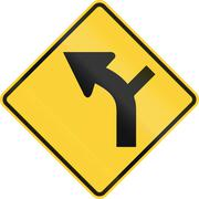 United States MUTCD warning road sign - Intersection in curve - stock illustration