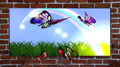 Butterflies the spring on the TV screen indoors. - stock footage