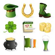 St. Patrick's Day holiday icons - stock illustration