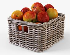 Wicker Apple Basket Ikea Byholma 1 Gray - 3D model