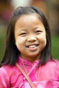 Happy Thai little girl - stock photo