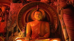 Buddhist statue in the Gangaramaya Temple Stock Footage