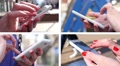 Collage of sliding typing white smartphone female fingers closeup HD Footage