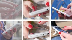 Collage of sliding typing white smartphone female fingers closeup Stock Footage