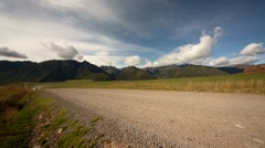 Landschaft-Anden-2014-bei-Cusco-Strasse-Auto- Stock Footage