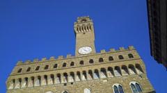 Palazzo Vecchio At Piazza Della Signoria Italy Stock Footage