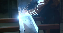 Assembling of parts using the welding machine - stock footage
