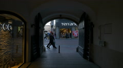 Terranova Store seen from an alleyway on Ilica Street,  Zagreb Stock Footage