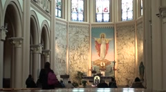 Inside the church of the Sacred Heart of Jesus of pescara Stock Footage