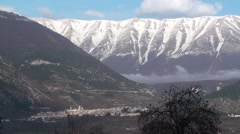 View of the small town of Abruzzo Pacentro Stock Footage