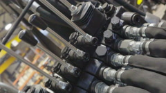 The hydraulic hoses found inside the factory - stock footage