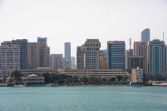 Sea front view with luxurious buildings in Abu Dhabi Stock Photos