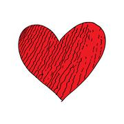 Red love heart crack doodle hand drawing vector Stock Illustration
