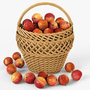 Wicker Basket 01 with Apples - 3D model
