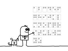 hand drawn cartoon characters - blind man reading Braille alphabet - stock illustration