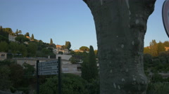 Saint-Paul-de-Vence and a direction board seen from Route des Serres Stock Footage