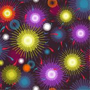 seamless fireworks colorful pattern - stock illustration