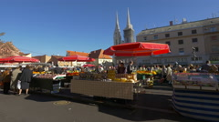 People buying products from Dolac Market in Zagreb, Croatia Stock Footage
