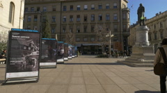 Information roll-ups about a film festival in Petar Preradovic square, Zagreb Stock Footage