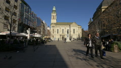 People walking in Cvjetni Square on a sunny day in Zagreb, Croatia Stock Footage