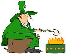 Leprechaun roasting a marshmallow Stock Illustration