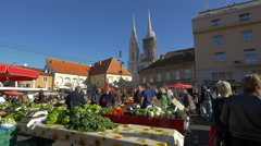 View of people buying from Dolac Market in Zagreb, Croatia Stock Footage
