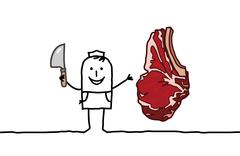 hand drawn cartoon characters - butcher & beef steak - stock illustration