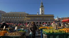 Beautiful view of Dolac Market in Zagreb, Croatia Stock Footage