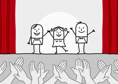 hand drawn cartoon characters - theater show & clapping hands - stock illustration