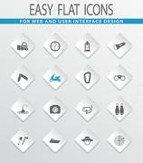 Active recreation icons set Stock Illustration
