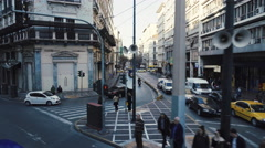 Athens aerial gimbal driving downtown leaving Omonia sq to Stadiou str Stock Footage