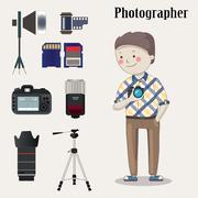 Freelance photographer with  photo camera - stock illustration
