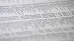 List of names, phone numbers and address in a page of a guide of phone book Stock Footage