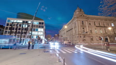 Night traffic on Marsala Tita street in Zagreb, time lapse Stock Footage